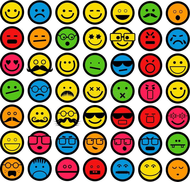 Kleur Emoticons stock illustratie