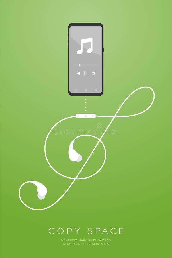 Kleur en de Oortelefoons van Smartphone de zwarte draadloos en ver, in Oor stock illustratie
