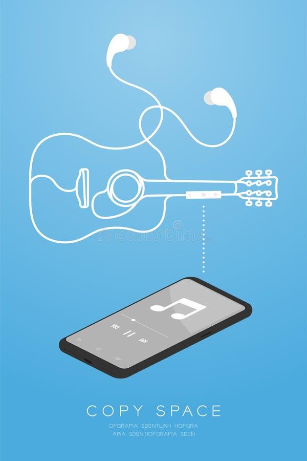 Kleur en Oortelefoons van Smartphone maakten de zwarte draadloos en ver, in Oortype isometrisch vlak ontwerp, akoestische gitaarv vector illustratie