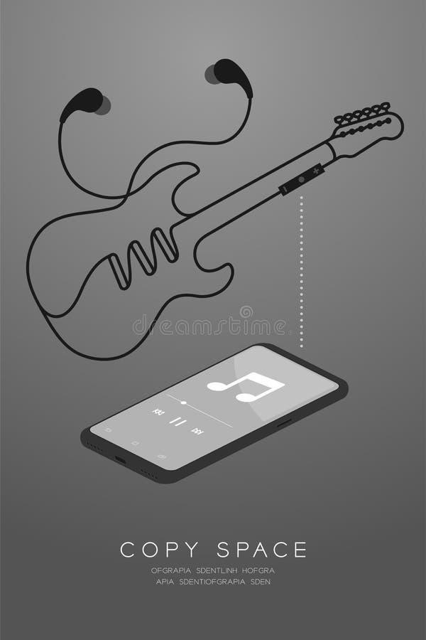 Kleur en Oortelefoons van Smartphone maakten de zwarte draadloos en ver, in Oortype isometrisch vlak ontwerp, elektrische gitaarv royalty-vrije illustratie