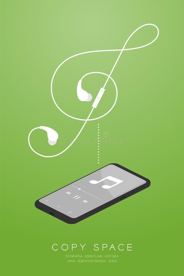 Kleur en Oortelefoons van Smartphone maakten de zwarte draadloos en ver, in Oortype isometrisch vlak ontwerp, G-sleutelvorm van z stock illustratie