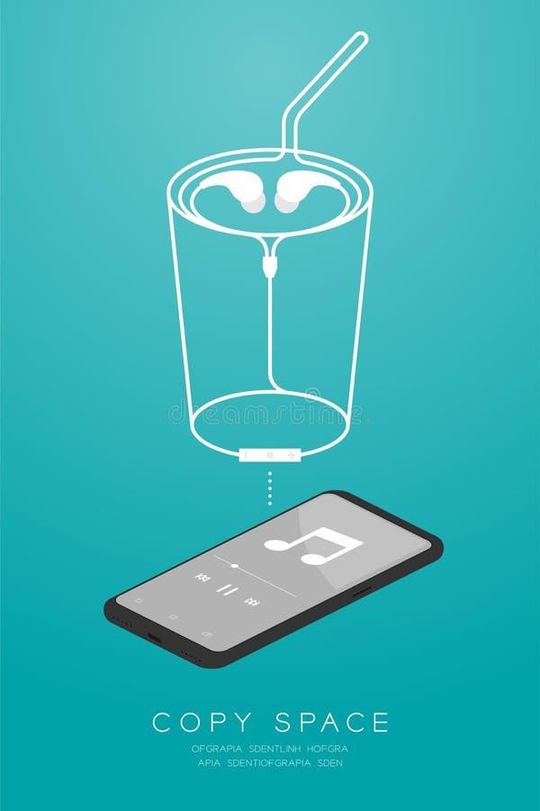Kleur en Oortelefoons van Smartphone maakten de zwarte draadloos en ver, in Oortype isometrisch vlak ontwerp, het glasvorm van de vector illustratie
