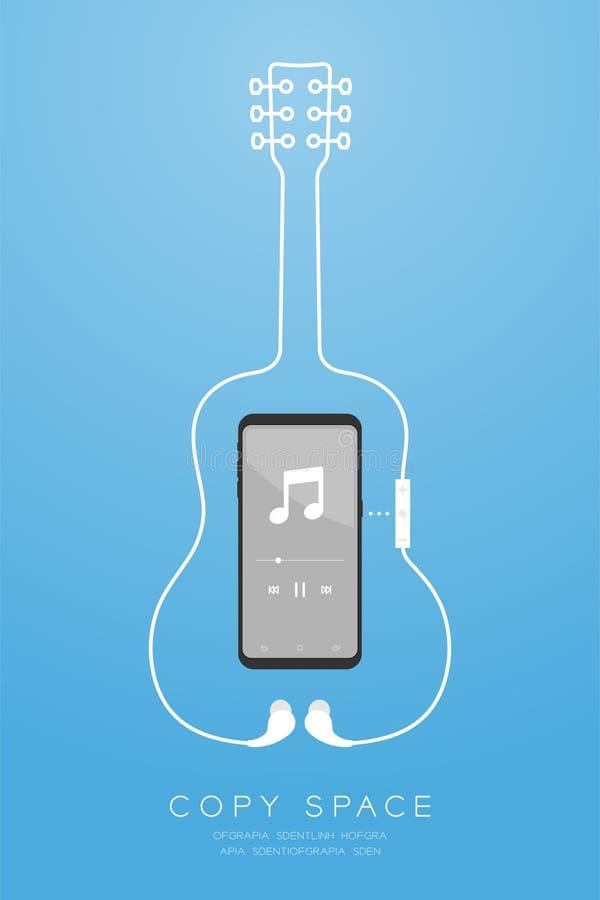 Kleur en Oortelefoons van Smartphone maakten de zwarte draadloos en ver, in Oortype vlak ontwerp, akoestische gitaarvorm van kabe stock illustratie