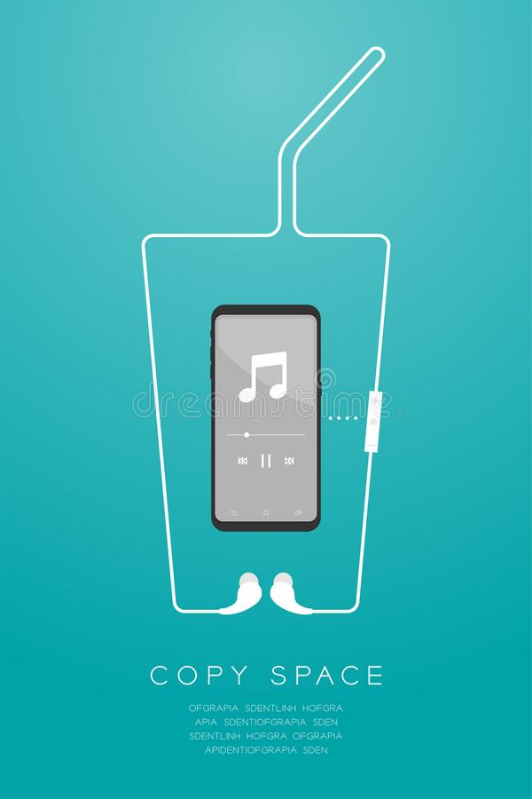 Kleur en Oortelefoons van Smartphone maakten de zwarte draadloos en ver, in Oortype vlak ontwerp, het glasvorm van de ijskoffie v vector illustratie