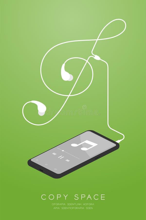 Kleur en Oortelefoons van Smartphone typen de zwarte in oor isometrisch vlak ontwerp, maakte de G-sleutelvorm van kabelillustrati vector illustratie