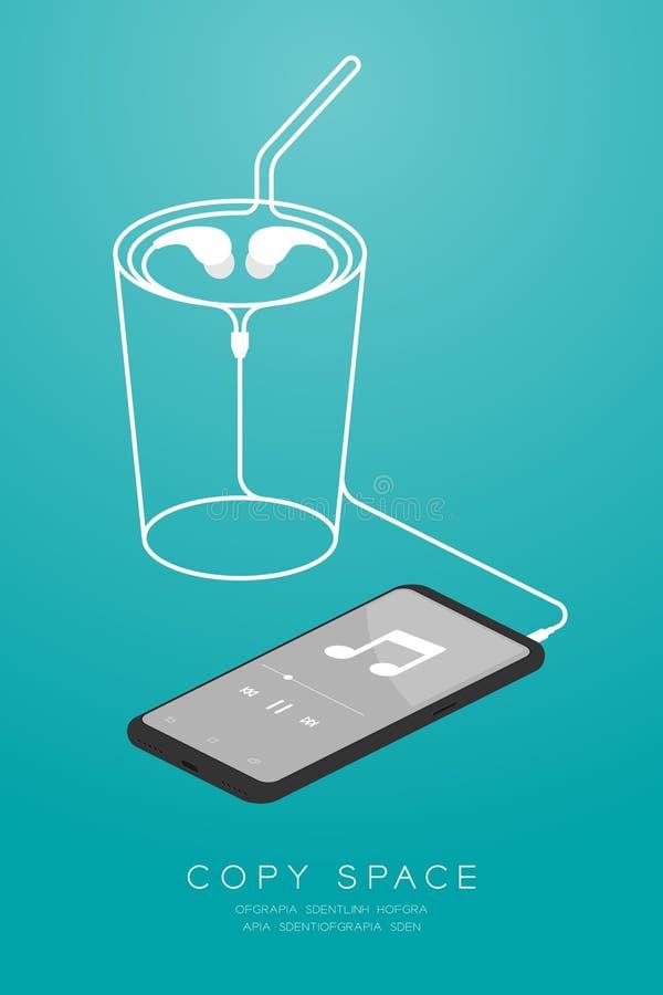 Kleur en Oortelefoons van Smartphone typen de zwarte in oor isometrisch vlak ontwerp, maakte de het glasvorm van de ijskoffie van royalty-vrije illustratie