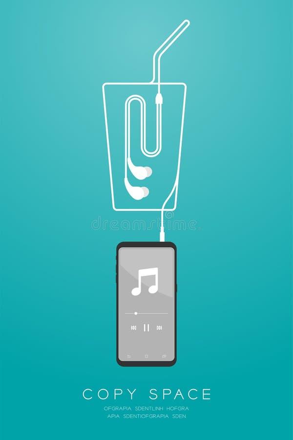 Kleur en Oortelefoons van Smartphone typen de zwarte in oor vlak ontwerp, maakte de het glasvorm van de ijskoffie van kabelillust vector illustratie