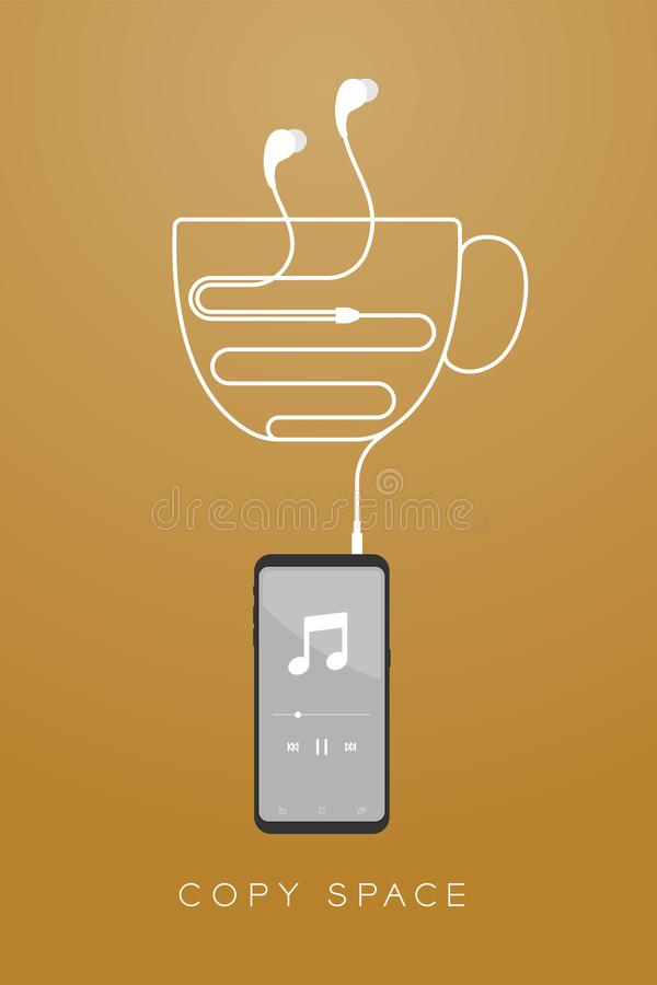 Kleur en Oortelefoons van Smartphone typen de zwarte in oor vlak ontwerp, maakte de vorm van de koffiekop van kabel vector illustratie