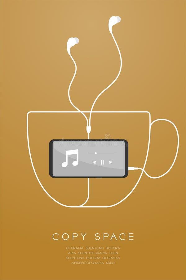 Kleur en Oortelefoons van Smartphone typen de zwarte in oor vlak ontwerp, maakte de vorm van de koffiekop van kabelillustratie vector illustratie