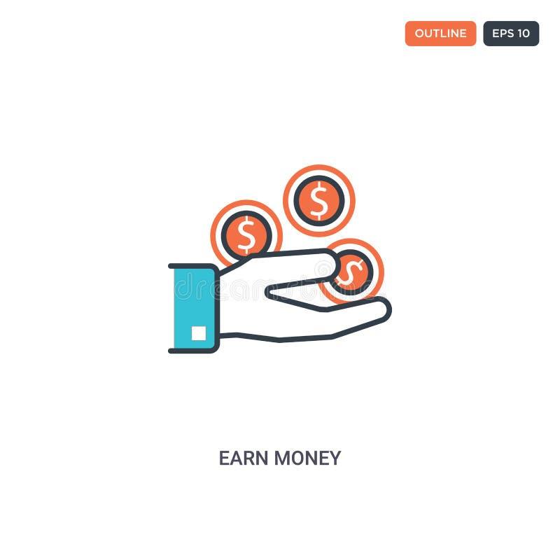 2 kleur Geld concept lijn vectorpictogram verdien de geïsoleerde twee gekleurde het geldoverzichtspictogram van de Earn met blauw royalty-vrije illustratie