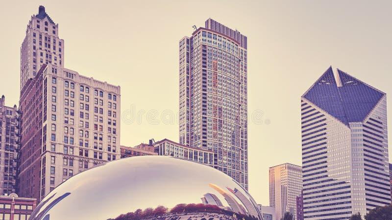 Kleur gestemd beeld van de horizon van Chicago, de V.S. royalty-vrije stock afbeeldingen