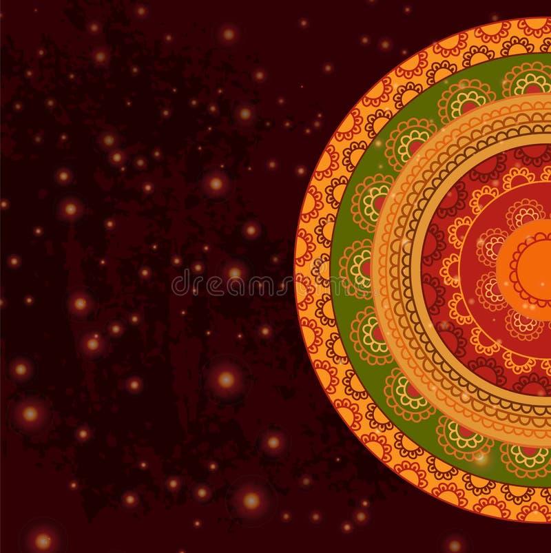 Kleur Henna Mandala Background stock illustratie