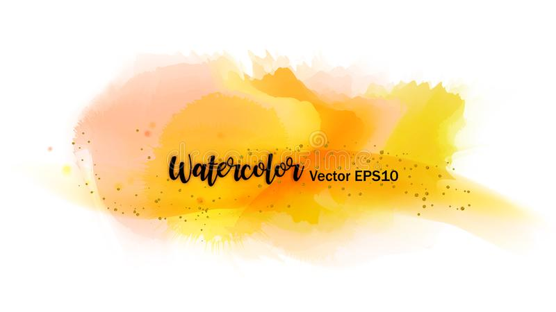 Kleur het bespatten in het document De waterverfkwaststreken met goud schitteren geïsoleerd op wit Creatieve illustratie artistie stock illustratie