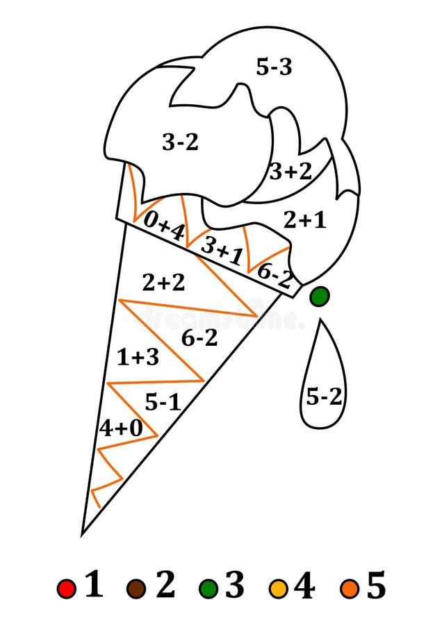 Kleur het kleuren het tellen voor kleine jonge geitjes - kleurenroomijs stock illustratie