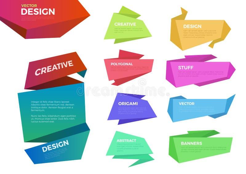 Kleur 10 het vectormalplaatje van origamietiketten vector illustratie