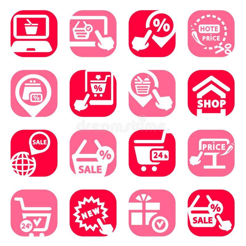Kleur het winkelen pictogrammen stock illustratie