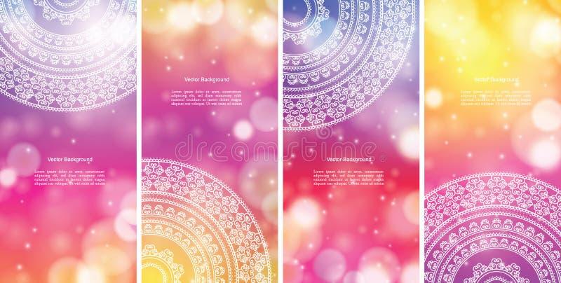 Kleur Mandala Banners stock illustratie