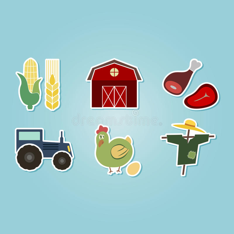 Kleur met met landbouwbedrijfpictogrammen dat wordt geplaatst royalty-vrije illustratie