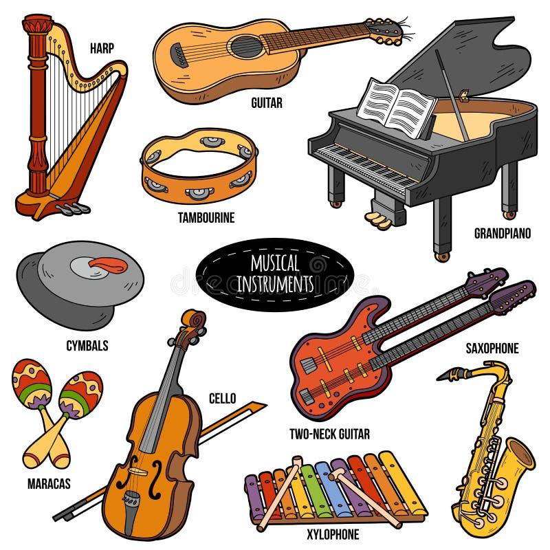 Kleur met muzikale instrumenten, vectorbeeldverhaalstickers wordt geplaatst die royalty-vrije illustratie