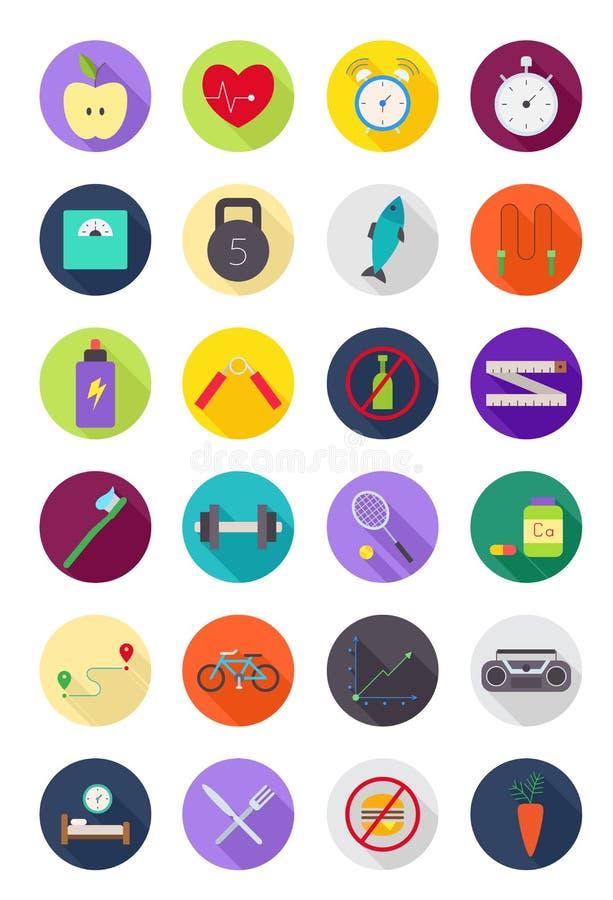 Kleur om gezonde geplaatste levensstijlpictogrammen stock illustratie
