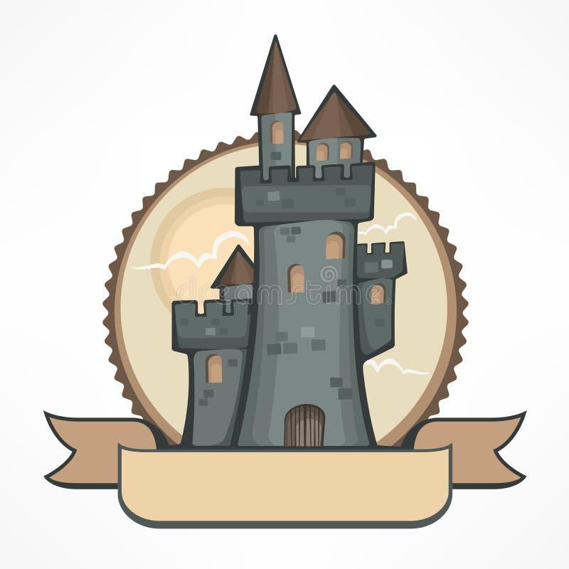 Kleur om het embleem van het kasteelembleem Vector illustratie stock afbeelding