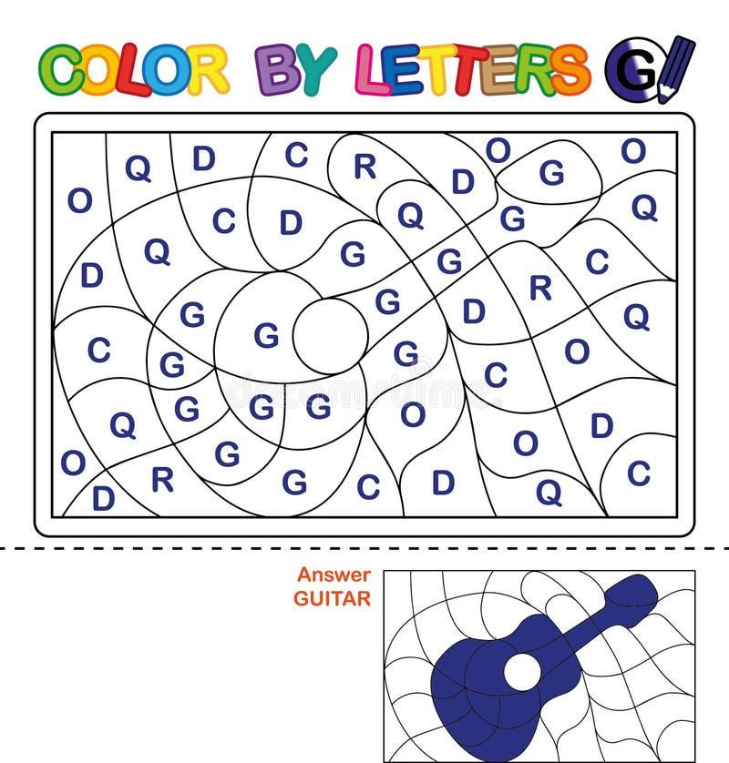Kleur per brief Raadsel voor kinderen Gitaar stock illustratie