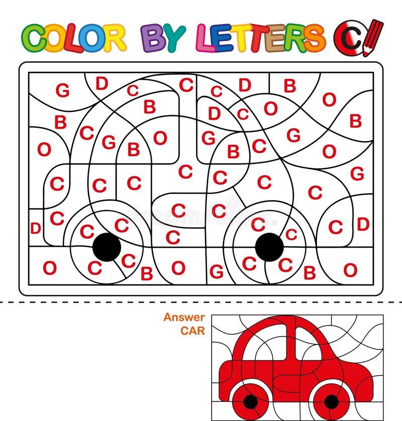 Kleur per brieven Het leren van de hoofdletters van het alfabet Raadsel voor kinderen Brief C Auto Peuteronderwijs royalty-vrije illustratie