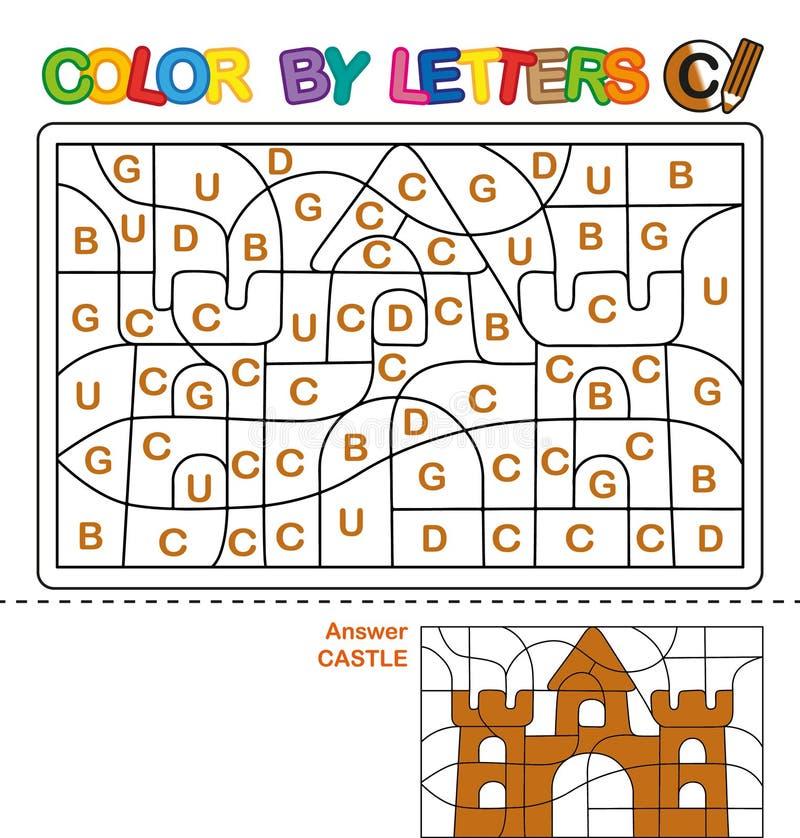 Kleur per brieven Het leren van de hoofdletters van het alfabet Raadsel voor kinderen Brief C Kasteel Peuteronderwijs vector illustratie