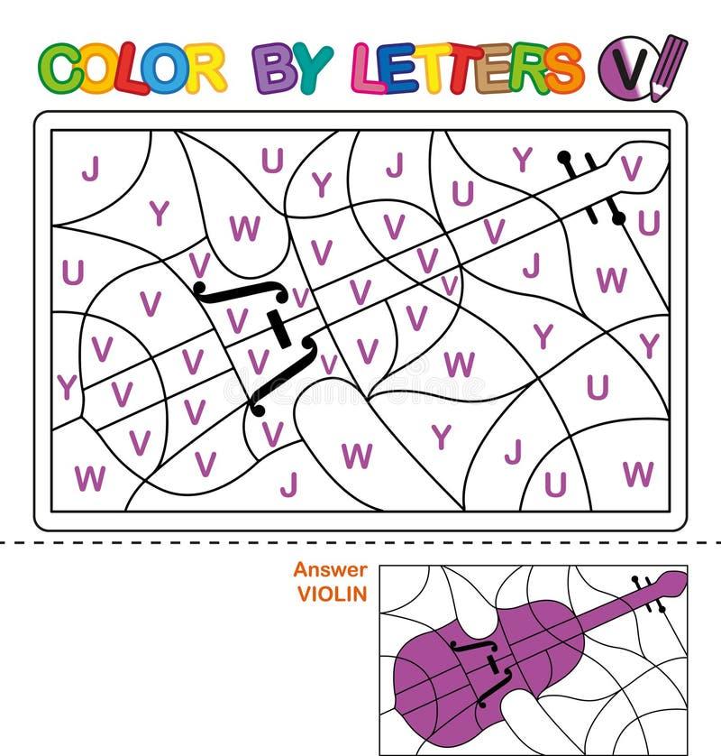Kleur per brieven Het leren van de hoofdletters van het alfabet Raadsel voor kinderen Brief V Viool Peuteronderwijs royalty-vrije illustratie