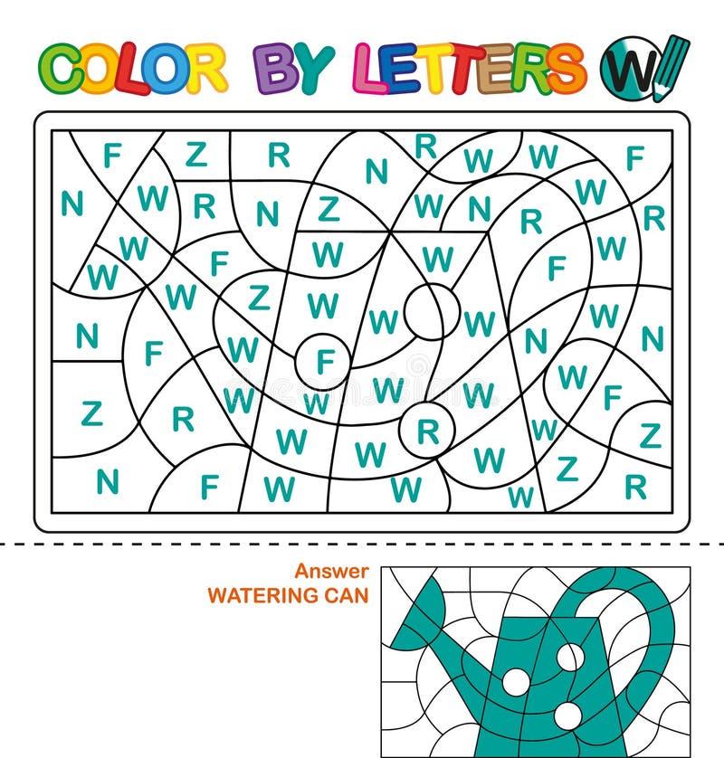 Kleur per brieven Het leren van de hoofdletters van het alfabet Raadsel voor kinderen Brief W Geïsoleerdw over witte achtergrond  royalty-vrije illustratie