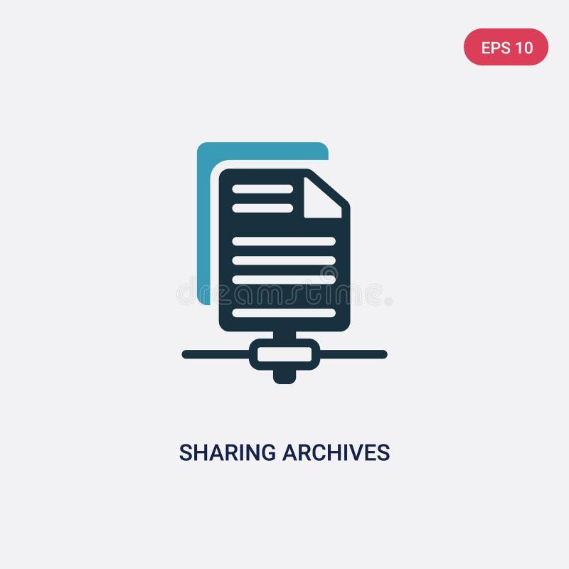 Kleur twee die archieven vectorpictogram van seo & Webconcept delen het geïsoleerde blauwe het delen symbool van het archieven ve royalty-vrije illustratie