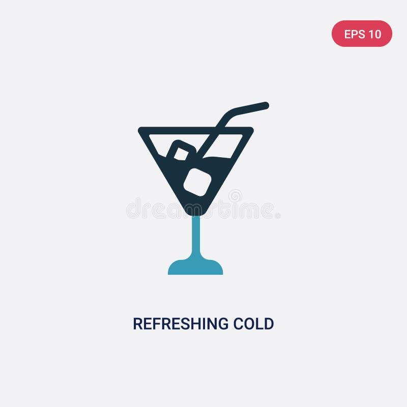 Kleur twee die koud drank vectorpictogram van de zomerconcept verfrissen het ge?soleerde blauwe verfrissende koude symbool van he stock illustratie