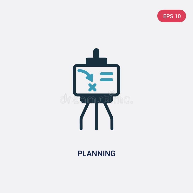 Kleur twee die vectorpictogram van strategieconcept plannen het geïsoleerde blauwe symbool van het plannings vectorteken kan gebr stock illustratie