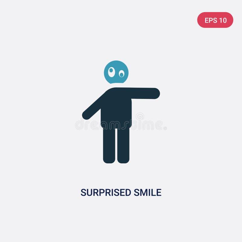 Kleur twee verraste glimlach vectorpictogram van mensenconcept het geïsoleerde blauwe verraste symbool van het glimlach vectortek vector illustratie