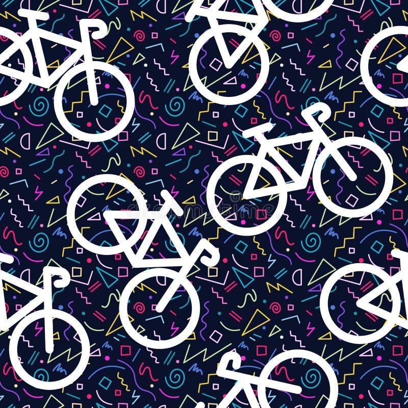 Kleur van de het overzichtsjaren '80 van het fiets retro naadloze patroon royalty-vrije illustratie
