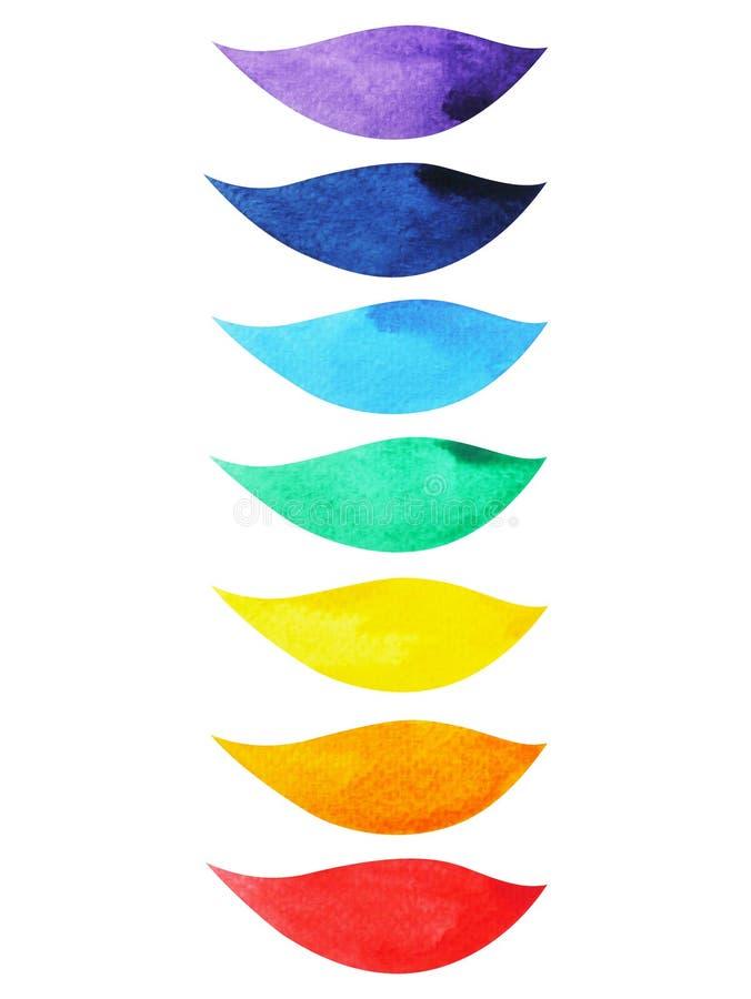 kleur 7 van het concept van het chakrasymbool, bloeit bloemenblad, waterverf het schilderen royalty-vrije illustratie