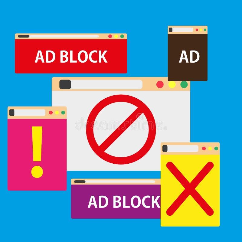 Kleur van het de illustratiesymbool van het advertentieblok popup Commerciële stijl van het bevorderings de reclame geïsoleerde s stock illustratie