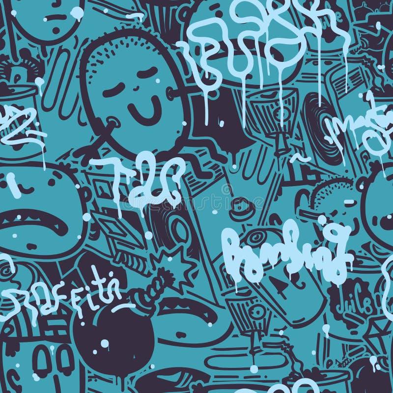 Kleur van het graffiti de Naadloze Patroon vector illustratie