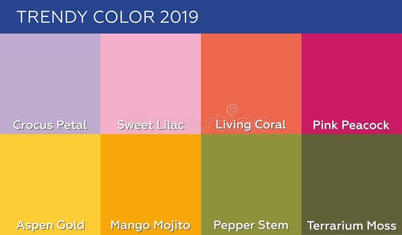 Kleur van jaar 2019 het Leven Koraalpantone en andere modieuze tendens en neutrals kleuren van de lente-zomer 2019 stock illustratie