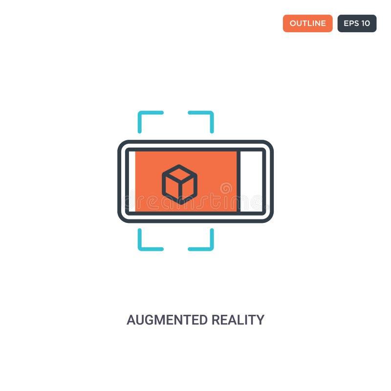 2 kleur Vergroot reëel concept lijnvectorpictogram geïsoleerde twee gekleurde Augmented reality-overzichtspictogram met blauwe en vector illustratie