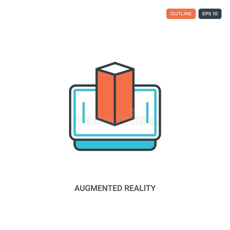 2 kleur Vergroot reëel concept lijnvectorpictogram geïsoleerde twee gekleurde Augmented reality-overzichtspictogram met blauwe en royalty-vrije illustratie