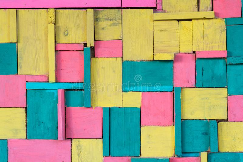 Kleurde de muur houten kleur houten muur stock fotografie