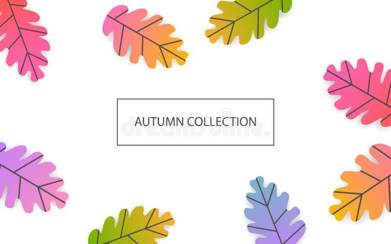Kleurde de seizoengebonden banner van de dalingsdankzegging met gradiënt eiken bladerenachtergrond royalty-vrije illustratie