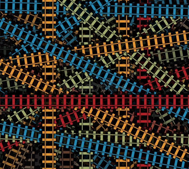 Kleurde de spoorweg vectortextuur, gesneden spoorweg tracs, spoorweg patroon, spoorweg geïsoleerde achtergrond royalty-vrije illustratie
