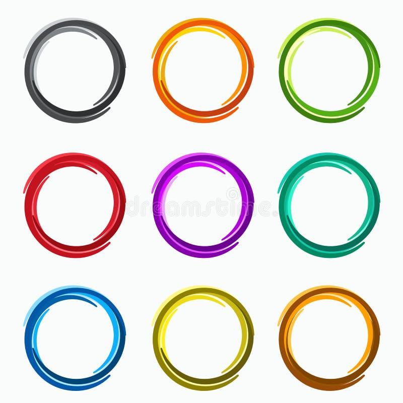 Kleuren abstracte cirkels De elementen van het lijnenembleem van malplaatje royalty-vrije illustratie