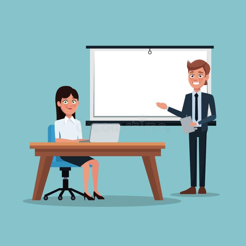 Kleuren achtergrond uitvoerende vrouwenzitting in bureau een zakenman die het werkpresentatie betekenen royalty-vrije illustratie