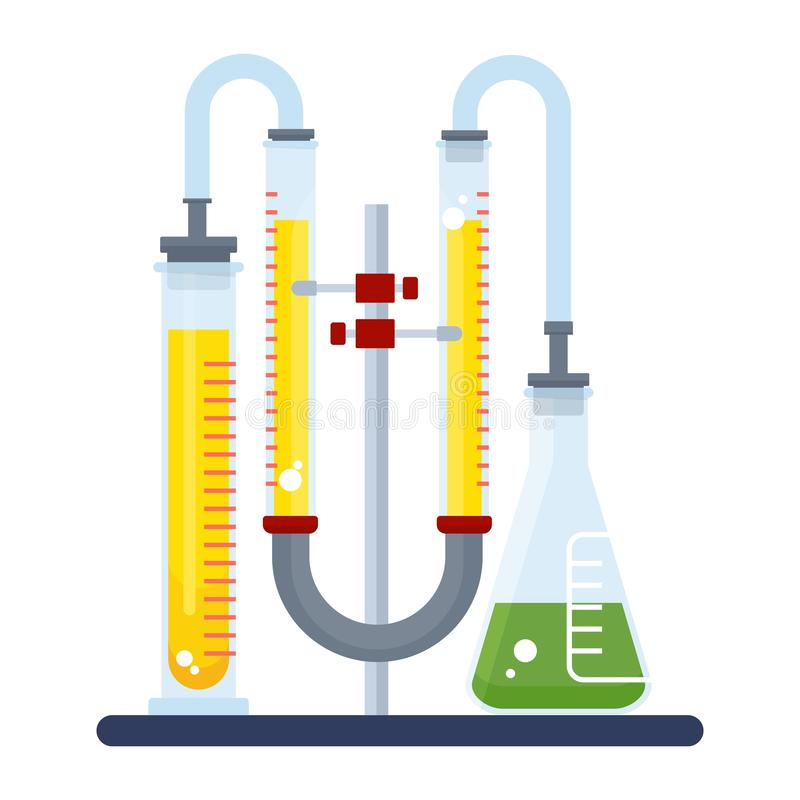 Kleuren chemisch laboratorium stock illustratie