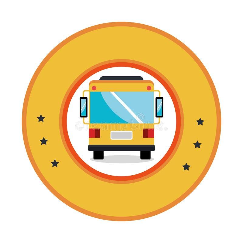 Kleuren cirkelkader met bus vooraanzicht royalty-vrije illustratie