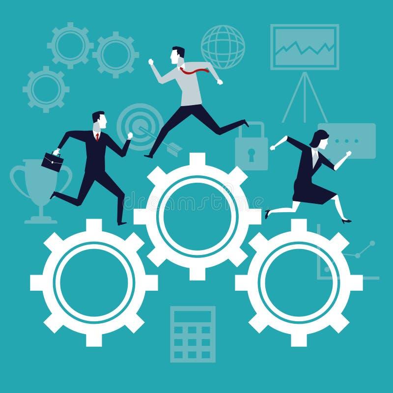 Kleuren de achtergrond bedrijfsgroei met bedrijfsmensen die in mechanismetoestellen lopen vector illustratie