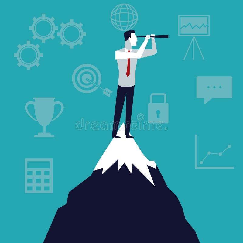 Kleuren de achtergrond bedrijfsgroei met zakenman in de hoogste berg die aan toekomst kijken stock illustratie